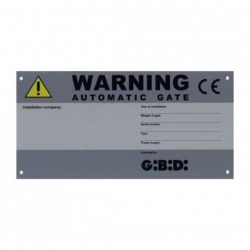 CE Identification Warning Plate