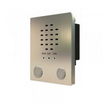 Videx VR120/437-1/PR Audio IP55 stainless steel vandal resistant panels with prox cut out,  120mm wide with flush box and speaker 1 Button