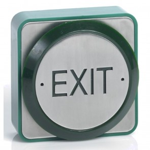 Push To Exit Button Stainless Steel Green Weatherproof