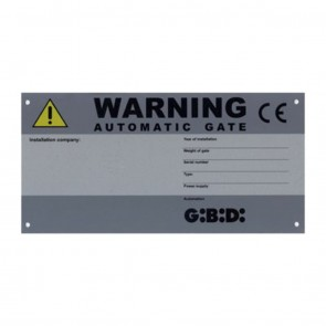 CE Identification Warning Plate