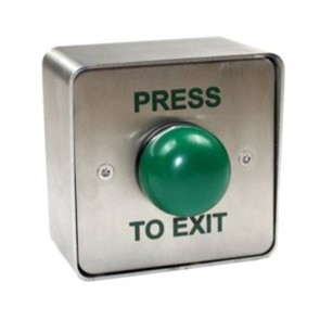 Press To Exit Green Dome Button Stainless Steel