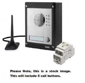 Videx GSM4K-5S 5 Way Surface Mount GSM Pro Intercom Kit With Proximity