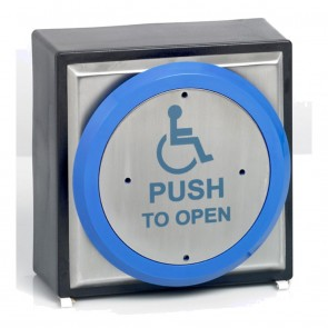 Push To Open Stainless Steel Blue Button ( Weatherproof )