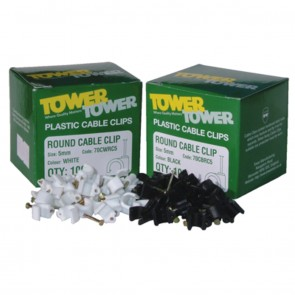 Tower Round Cable Clips White 10.0mm