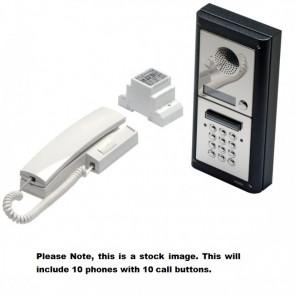 Videx 4K-10S/CL 10 Way Intercom With Codelock Surface Kit